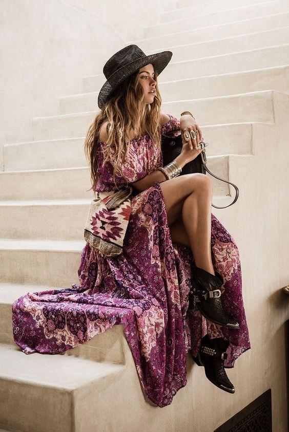 Moda Boho Outfits con detalles etnicos y toques Hippie Chic