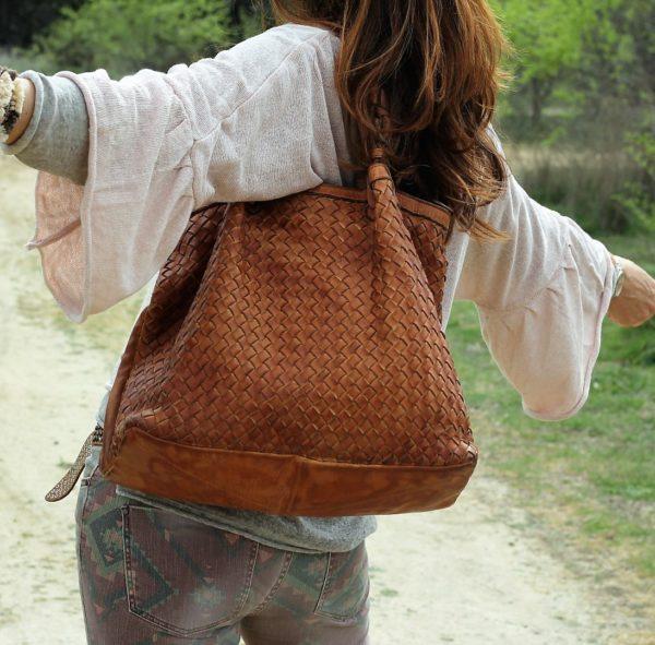 bolsos diseño italiano piel trenzada nine
