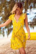 vestido corto kaisley amarillo boho chic